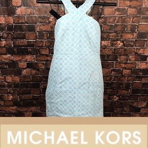 Michael Kors White & Blue Quilted Halter Dress